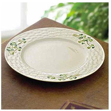 Belleek Plate - Shamrock Side