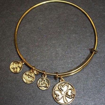 Gold Tone Shamrock Celtic Charm Bangle