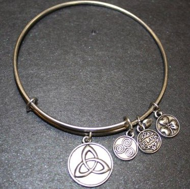 Silver Tone Trinity Celtic Charm Bangle